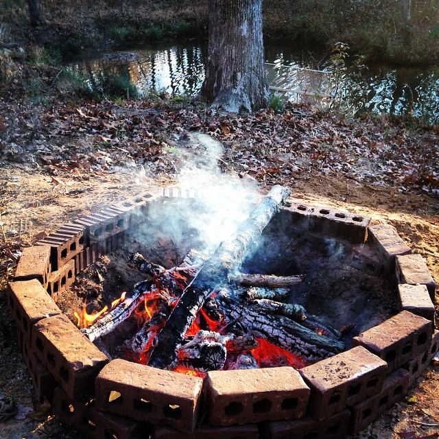Traditional Thanksgiving fire pit. Oxford, MS