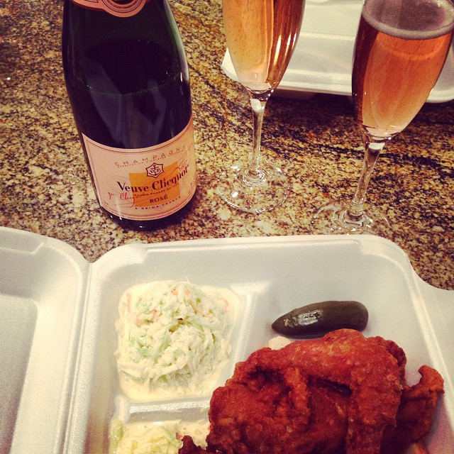 Nothing beats fried chicken and champagne. Oxford, MS #deepsouth